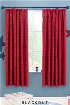Red Star Cotton Rich Printed Blackout Pencil Pleat Curtains