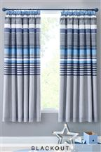 Textured Chambray Stripe Print Blackout Pencil Pleat Curtains