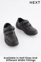 Black Narrow Fit Sporty Double Strap Shoes (Older Boys)
