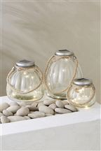 Set Of 3 Solar Glass Lanterns