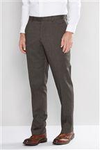Brown Herringbone Textured Trousers