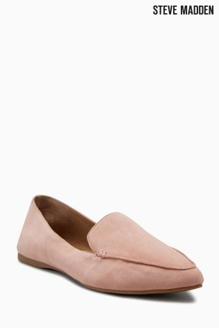 Steve Madden Pink Leather Point Flat Loafer ...