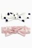 Pink/Cream Spot Print Bow Headbands Two Pack (0-18mths)