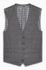Grey Textured Check Slim Fit Suit: Waistcoat
