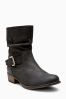 Black Leather Buckle Slouch Boots