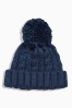 Navy Cable Beanie (Younger Boys)