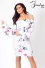Jessica Wright Bardot Floral Print Midi Dress
