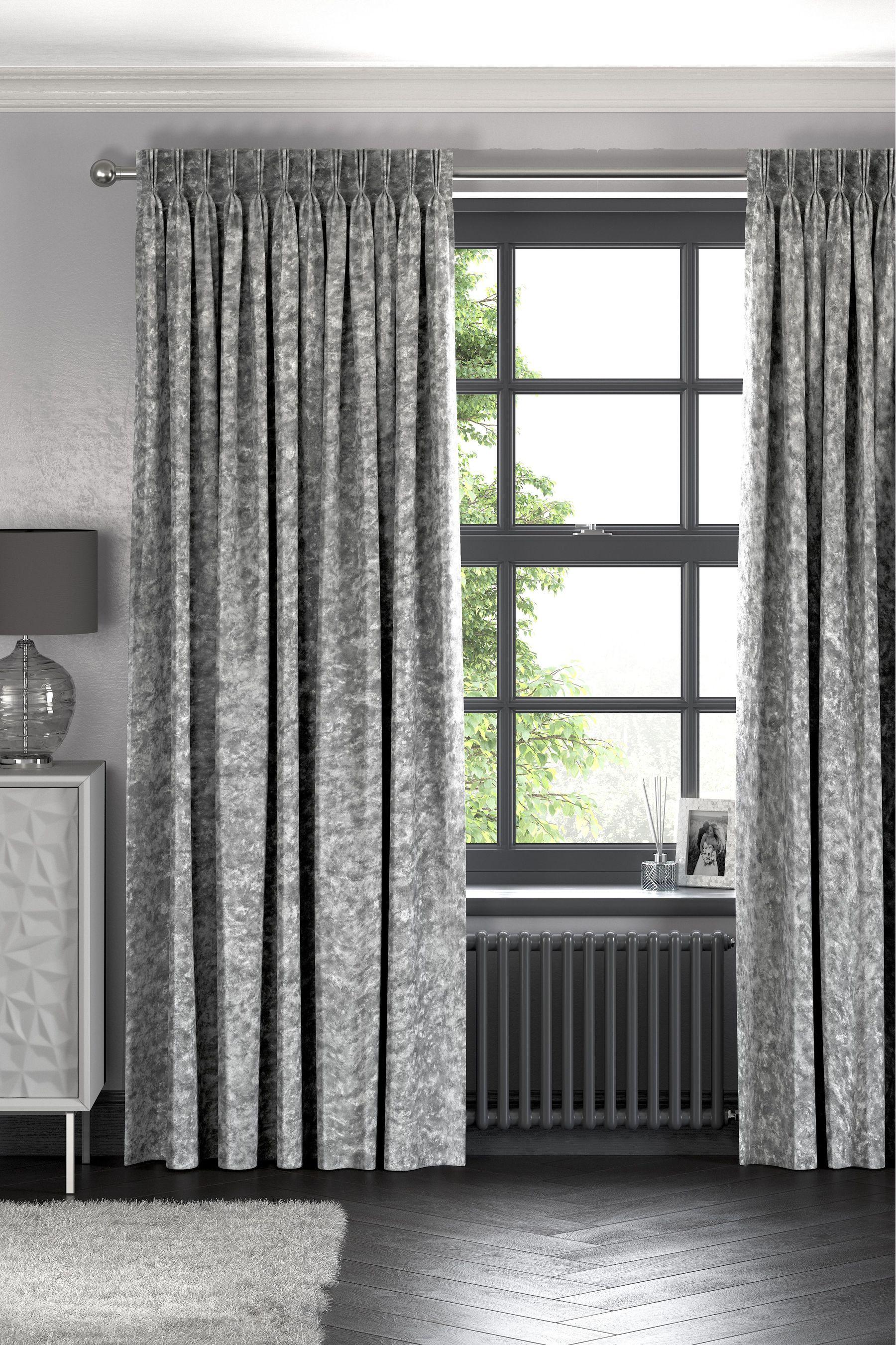 Next Crushed Velvet Eyelet Lined Curtains Grey 163 85 00