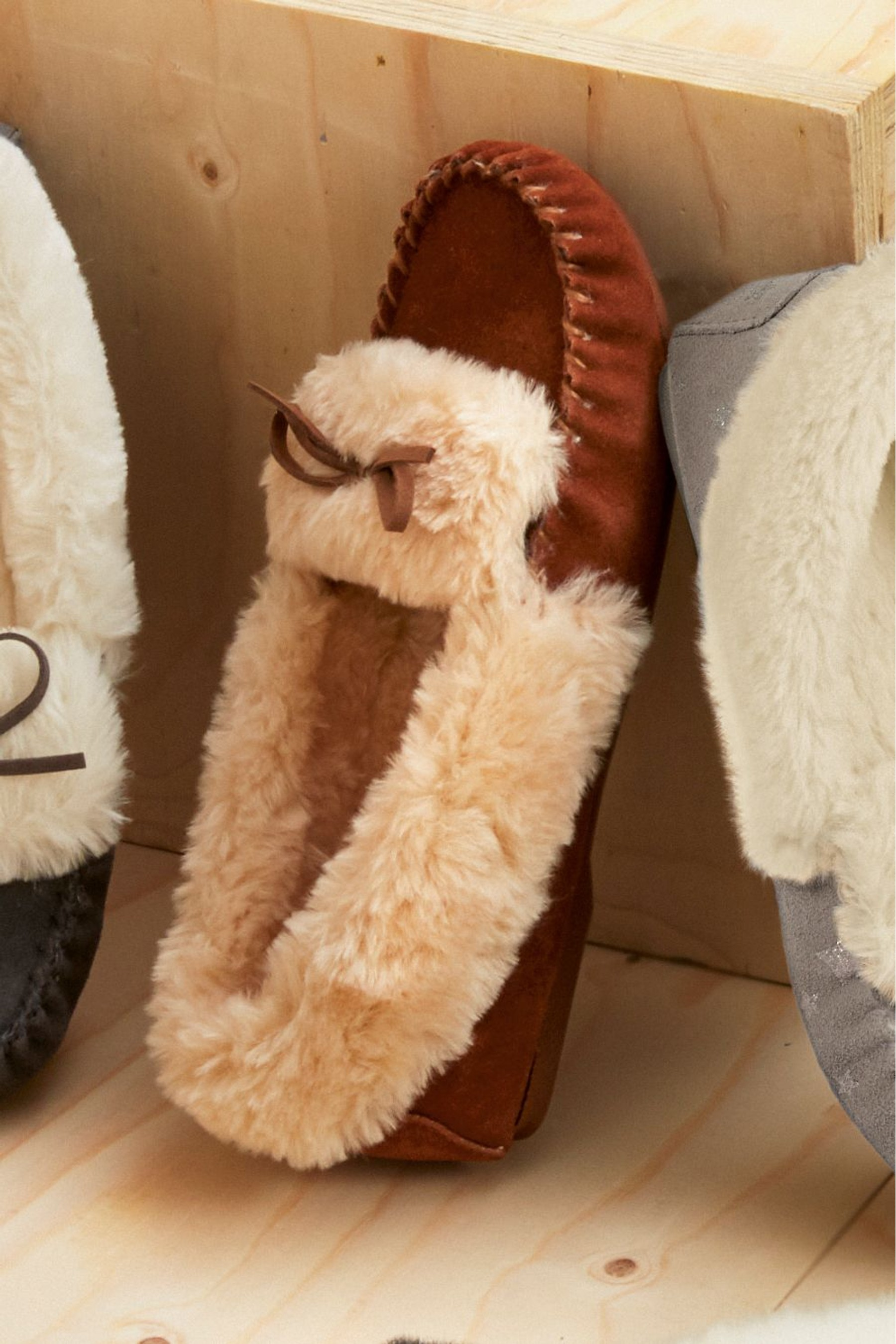 Womens Next Suede Moccasin Slippers - Grey Next QGQoyqOHkY