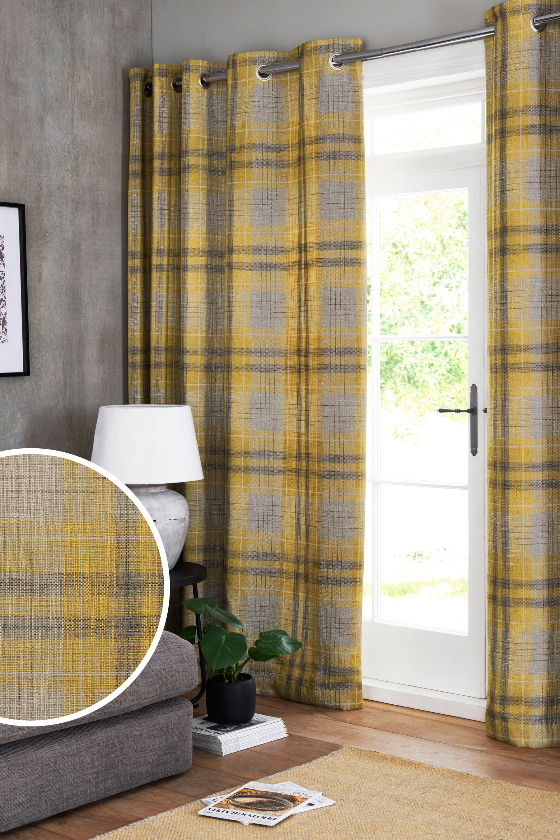 Next Astley Check Eyelet Lined Curtains Yellow