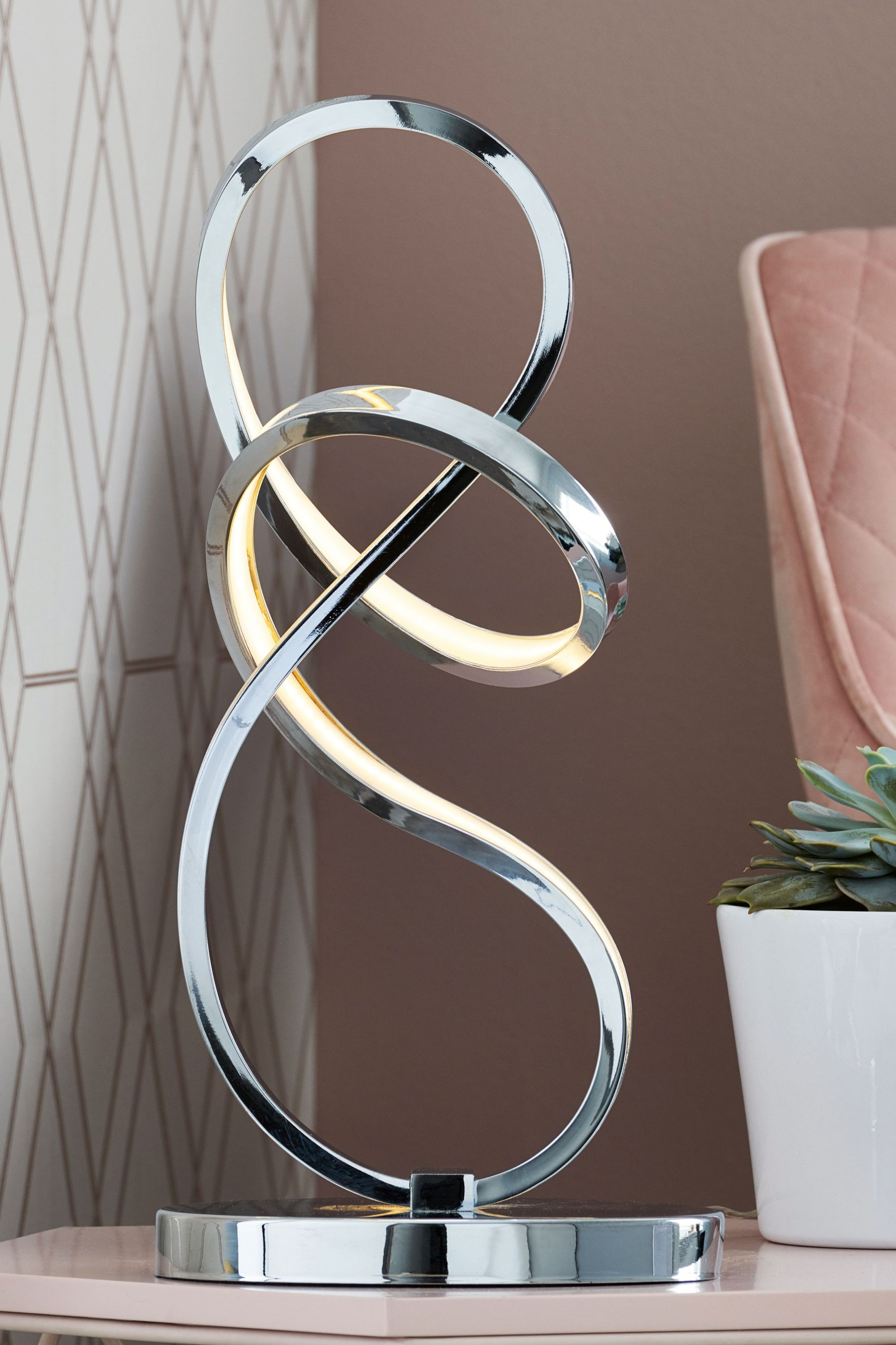 Next LED Sculptural Touch Table Lamp - Chrome | £75.00 ...