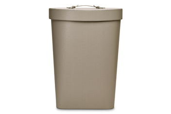 Grey Embossed Faux Leather Laundry Bin