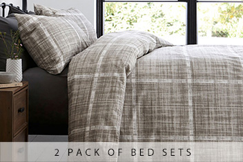 2 Pack Printed Textured Check Bed Set