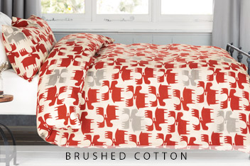 Brushed Cotton Red Moose Bed Set