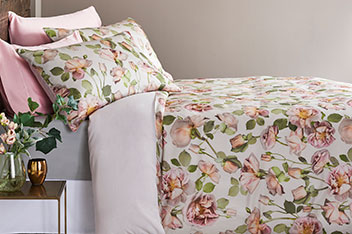 Cotton Sateen Rose Digital Bed Set