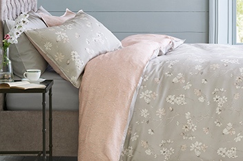 210 Thread Count Cotton Sateen Grey And Pink Floral Bed Set