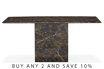 Jura Brown Marble Dining Table By Alfrank