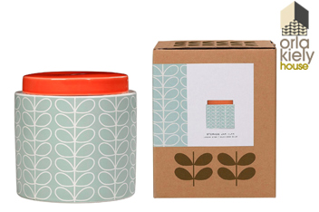 Orla Kiely Linear Stem Duck Egg 1 Litre Storage Jar