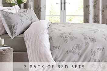 2 Pack Floral Stripe Bed Set