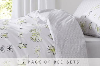 2 Pack Green Butterfly Bed Set