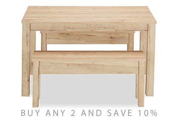 Bronx Light Dining Table And Bench Set