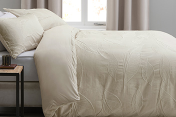 Natural Leaf Jacquard Bed Set