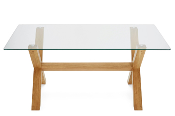 Oak & Glass Rectangle Dining Table