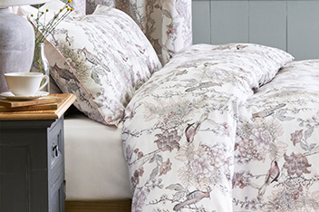 200 Thread Count Cotton Sateen Grey Birds Bed Set