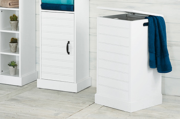 White Wood Laundry Bin