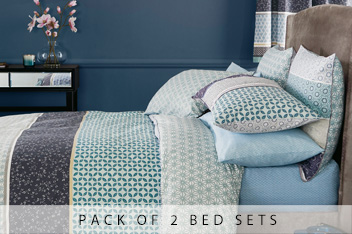 2 Pack Teal Origami Pattern Bed Set