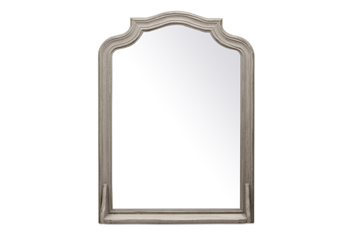 Grey Wood Frame Mirror With Shelf