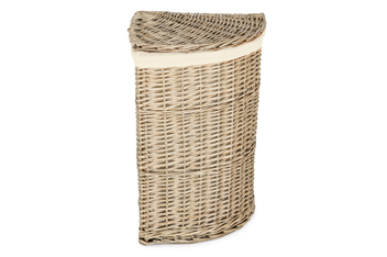 Natural Willow Corner Laundry Bin