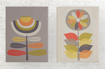 Set of 2 Contemporary Floral Small Canvases