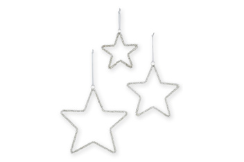 Set of 3 Silver Effect Beaded Hanging Stars