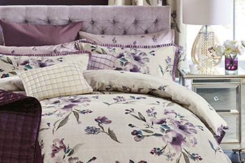 Cotton Sateen Mauve Floral Bed Set