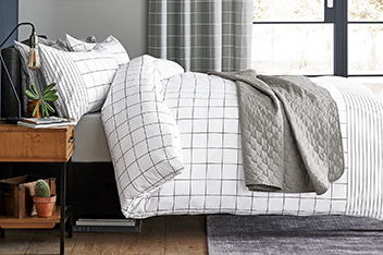 2 Pack Windowpane Check Bed Set