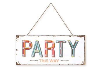 Light Up Party This Way Hanging Canvas