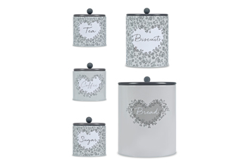Set Of 5 Heart Storage Tins