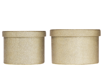 Set Of 2 Gold Leather Effect Boxes