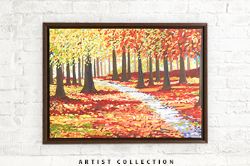 Artist Collection Autumn Forest Framed Canvas By Janet Bell