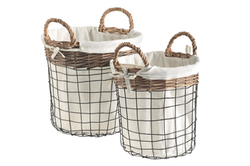 Set Of 2 Wire And Woven Baskets