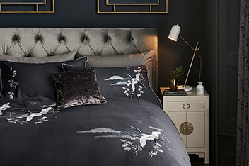 Embroidered Bird Bed Set
