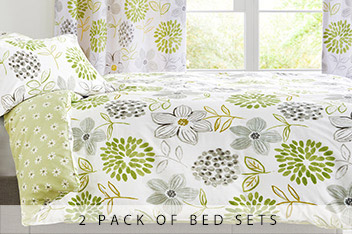 2 Pack Green Floral Bed Set