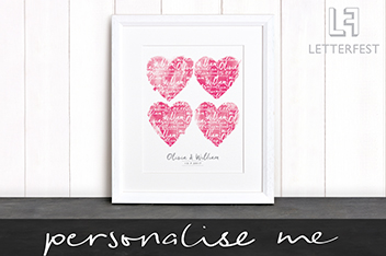 Personalised Couples Print By Letterfest