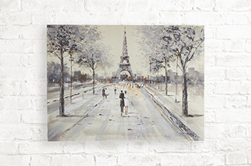 Paris Couple Scene Glitter Canvas