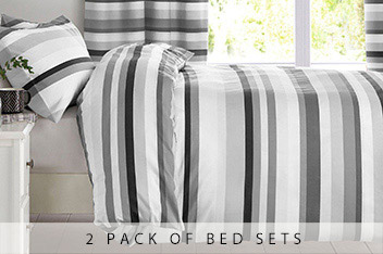 2 Pack Mono Stripe Bed Set