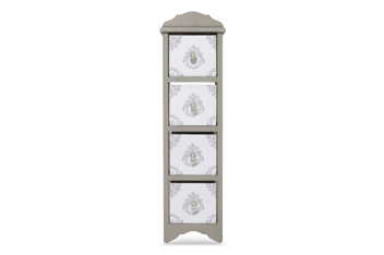 Grey Damask Wooden 4 Drawer
