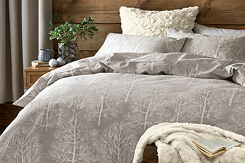 Brushed Cotton Natural Trees Bed Set