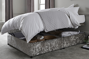 Glitz Pewter Ottoman Upholstered Divan Base