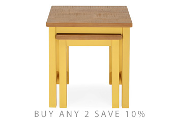 Set Of 2 Kendall Painted Yellow Nest Of Tables